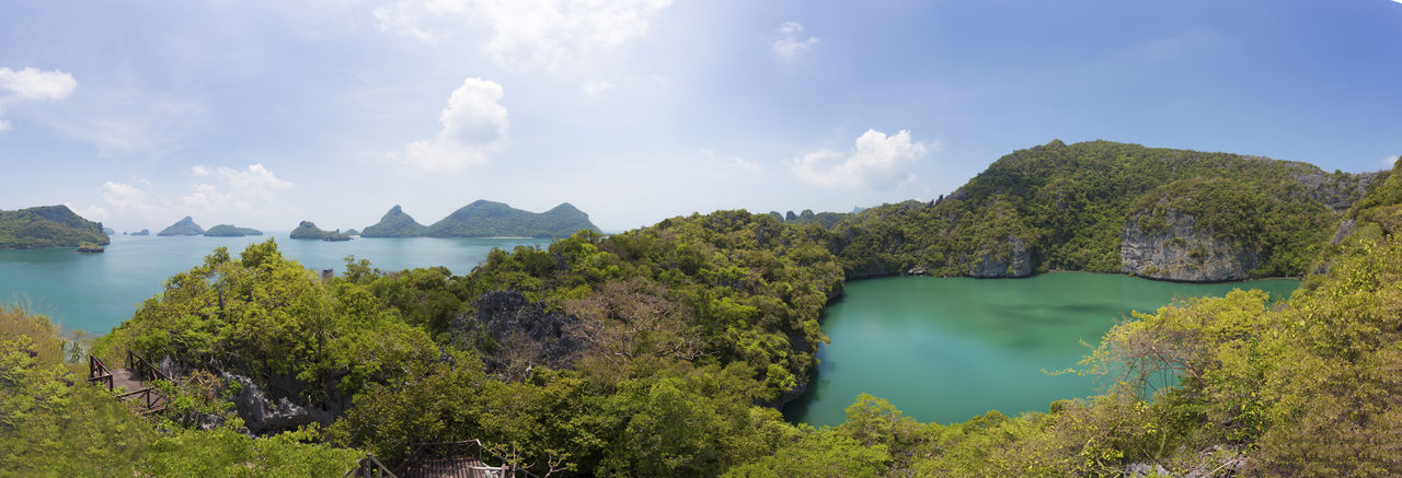 Angthong National Marine Park Angthong Angthong National Marine Park Angthong,Thailand Panorama Thailand Beauty In Nature Cloud - Sky Day Lake Landscape Mountain Nature No People Outdoors Panoramic Samui Sea Sea And Sky Sky Water