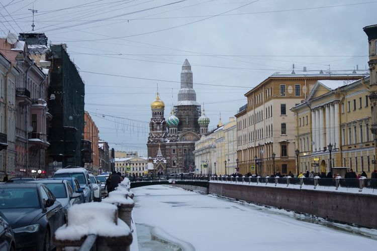 Canal Winter Cityscape Reconstruction City Snowing Snow Cold Temperature Winter Sky Architecture Historic Cathedral