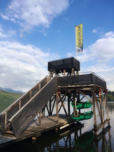 Döbriach Millstättersee Diving Platform Lake Taking Photos Austria Kärnten
