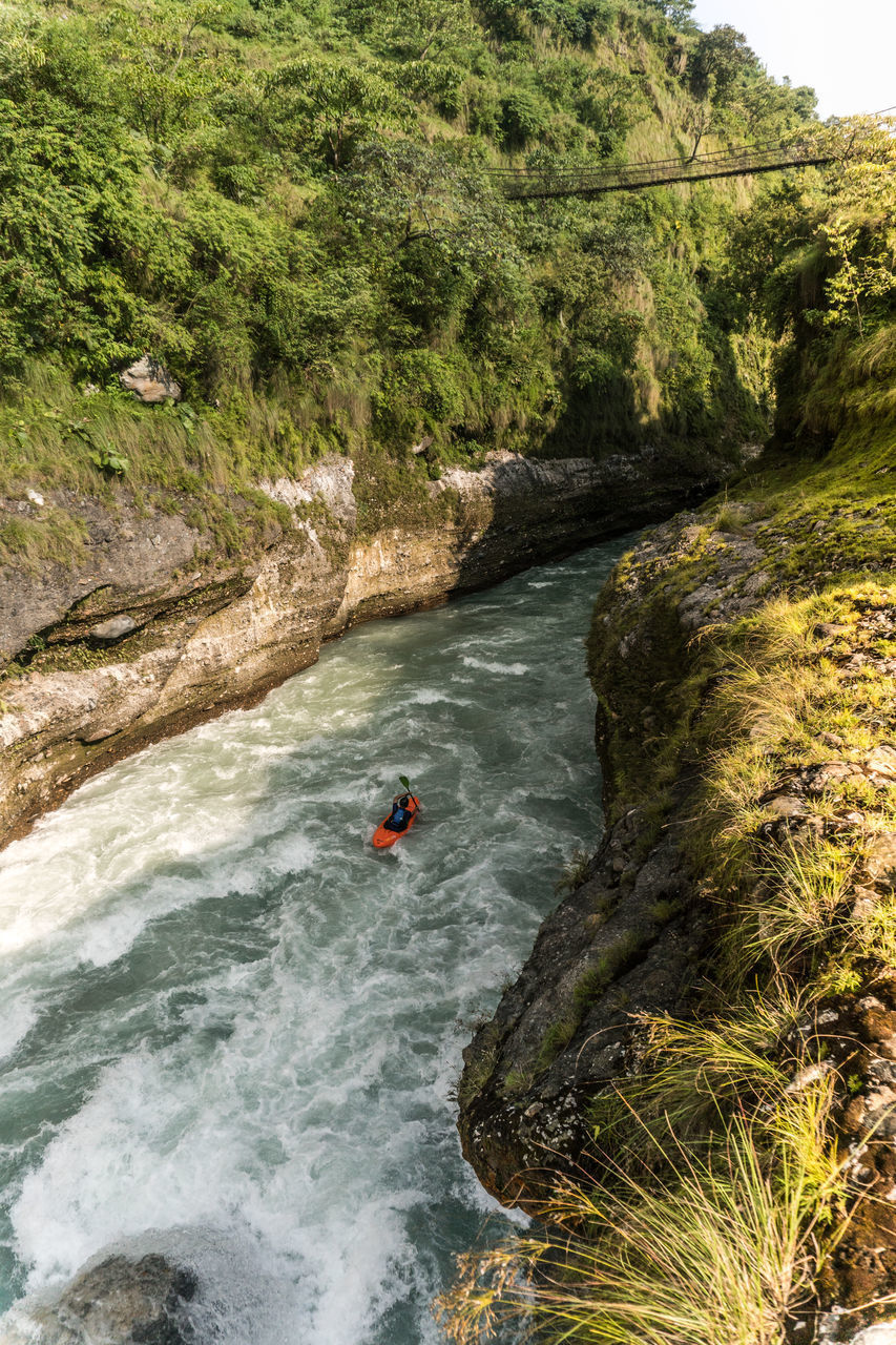 water, sport, adventure, nature, day, river, transportation, nautical vessel, motion, people, beauty in nature, leisure activity, scenics - nature, high angle view, extreme sports, plant, risk, tree, outdoors