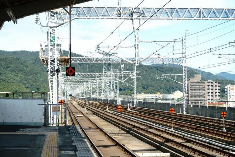 Train on railway tracks against sky