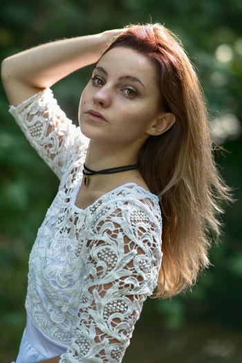 white dress in outdoors mode Taking Photos Taking Pictures Portrait Photography Portrait Getting Inspired Getting Creative Fashion Still Life Lifestyles Freshness Eyes Long Hair Portrait Beautiful Woman Beauty Beautiful People Fashion Model Fashion Long Hair Natural Beauty