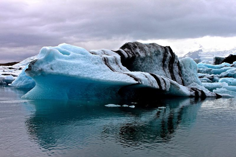 Scenic View Of Jokulsarlon Lagoon Against Cloudy Sky