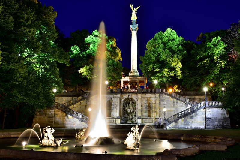 Stairs Geometry Staircase Stairs At Night Monuments Friedensengel Nightphotography Night Lights City Light City Lights At Night Lights Lightplay Lightp City Tree Water Illuminated Sculpture Statue Fountain Sky Long Exposure