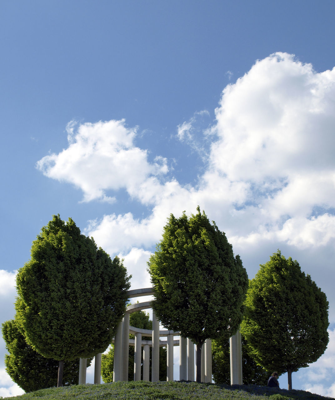 Trees at built structure on landscape against the sky