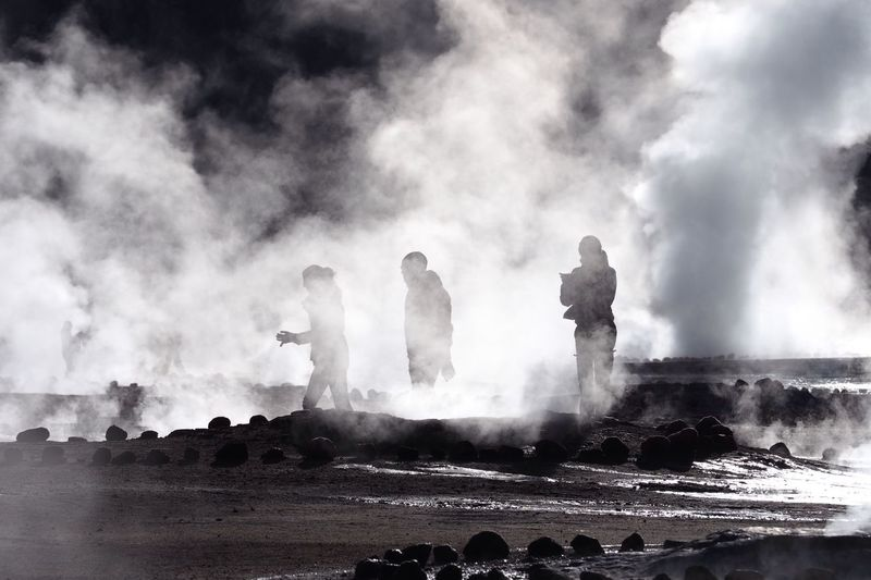 Geyser Adventure Series No. 2 Power In Nature Geyser Hot Spring Steam Large Group Of People Real People Volcanic Activity Adventure Tatio Geysers Atacama Desert Chile Morning Light Monochrome Erupting Volcanic Landscape Travel Travel Destinations Olympus OM-D E-M1 Mark II Heat - Temperature Water Splashing Silhouettes Tourist Attraction  Outdoors Breathing Space