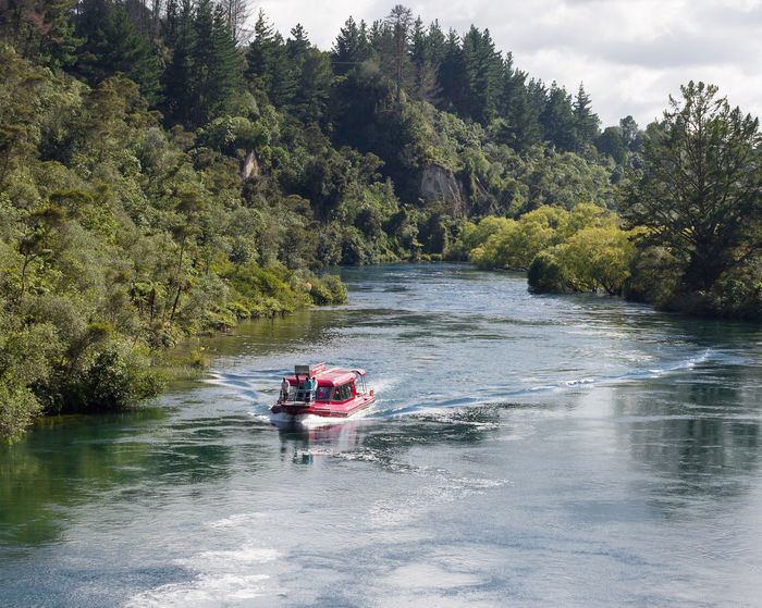 Cruise Ship Holiday Cruising New Zealand Huka Falls Rapids Taupo Lake Leisure Activity Lifestyles Men Nature Nautical Vessel Outdoors People River Togetherness Transportation Tree Vacations Landscape Adult Beauty In Nature Day Forest
