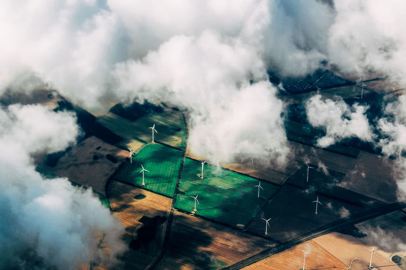 Aerial Aerial View Beauty In Nature Cloud - Sky Day Energy Fields Green Green Energy Nature No People Outdoors Pattern Scenics Sky Sustainability Sustainable Tranquil Scene Tranquility Wind Power Wind Power Generator Flying High The Week On EyeEm Perspectives On Nature