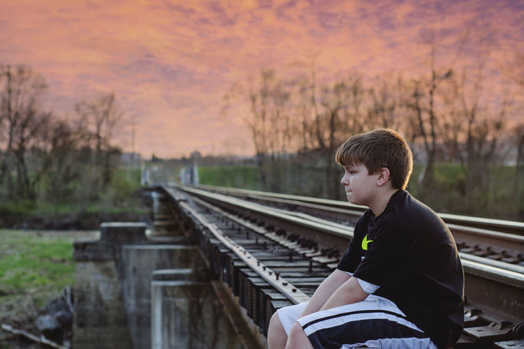 Just Because Just Chillin' Pondering Railroad Railroad Photography Red Sky At Night... Children Photography Nikonphotography Nikon D7100