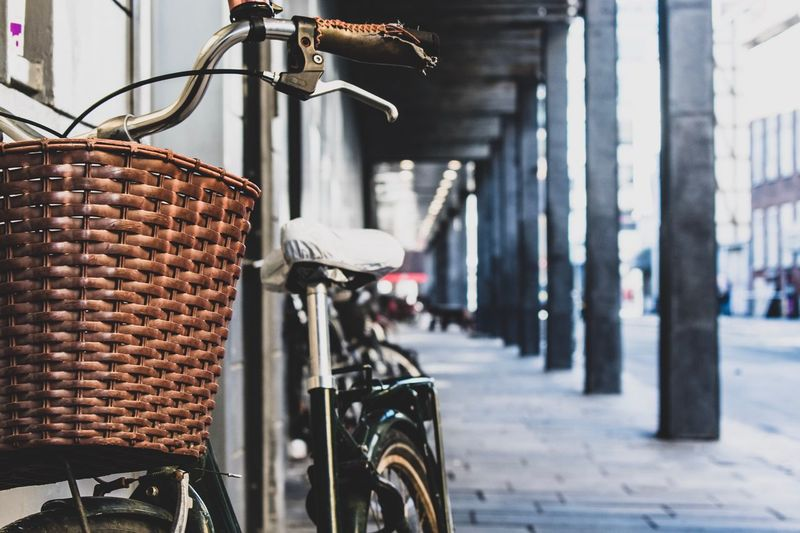 Close-up of bicycle parked in basket