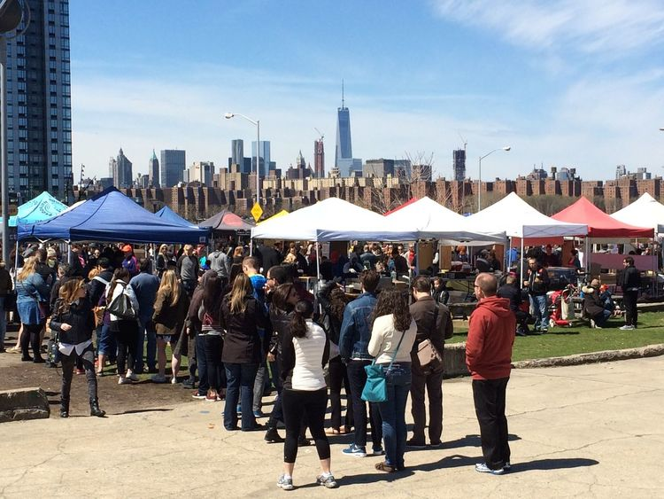 Smorgasborg Brooklyn City Day Food Food Queue Hipster Large Group Of People NYC Queue Queuing Sky Skyscraper Smorgasburg Urban Skyline Waiting In Line Weekend Activities