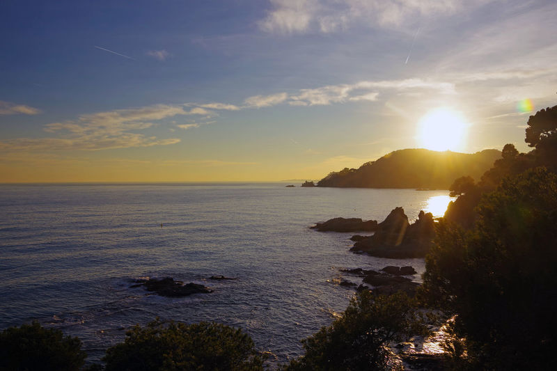 Sunset over the mediterranean coast in Lloret de Mar, Costa Brava, Spain Catalonia Catalunya Cloud Coastline Costa Brava Lloret De Mar Mediterranean Sea Rock SPAIN Coast Dawn España Europe Golden Hour Light And Shadow Nature No People Outdoors Photography Scenics Sky Sunset Water