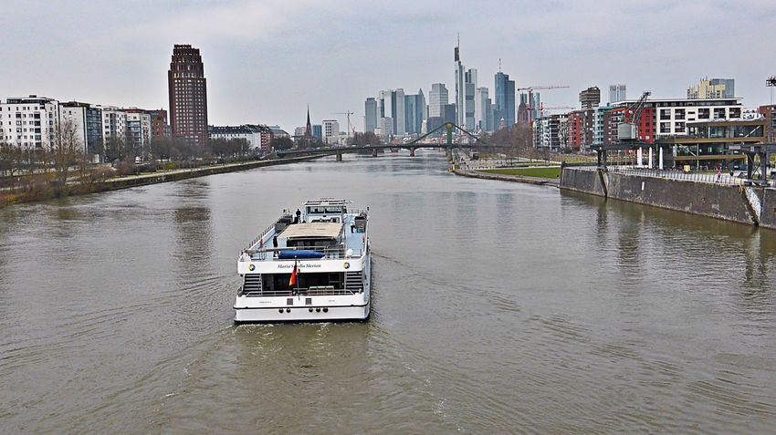 Skyline view of Frankfurt am Main, Germany Skyline Skyline Frankfurt Ship Urban Urban Landscape City Cruise Ship River Cityscapes City View  City Tour Skyscrapers Buildings River Cruise
