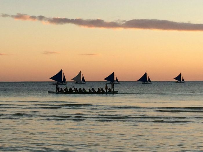 Dragonboat training and sailboats in the sunset Dragonboat Sea + Sky Sea + Boat History Business Finance And Industry Sailboat Cloud - Sky Leisure Activity Outdoors