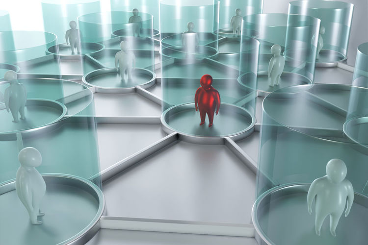High angle view of man standing in glass