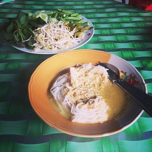 Capturing the moment of having the most authentic andd delicious 'laksa lemak Thai' Food And Drink Freshness Laksa Thai Noodles Ready-to-eat Serving Size Thai Food Vegetable