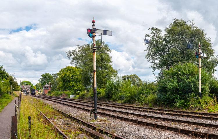Old Railway Lines Greenery Historic Railroad Track Railway Railway Station Signal Tracks Train Vintage Style
