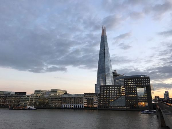 London Shard London City London City Life Architecture Built Structure Building Exterior Tall - High Sky Skyscraper Tower Modern City Cloud - Sky Travel Destinations Cityscape Low Angle View Waterfront No People Urban Skyline Day Outdoors Water SunsetAutumn
