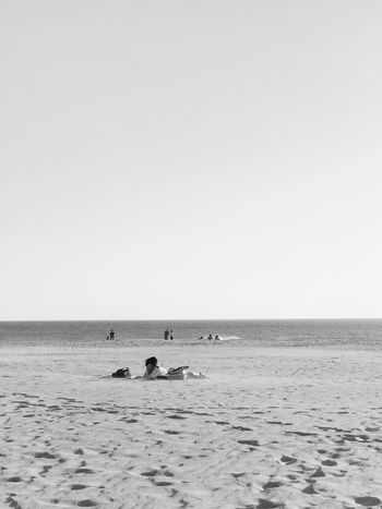 Sitting, waiting, wishing Beach Beauty In Nature Clear Sky Day Horizon Over Water IPhoneography Mobilephotography Nature Outdoors People Sand Scenics Sea Sky Vacations Vscocam Water Wave