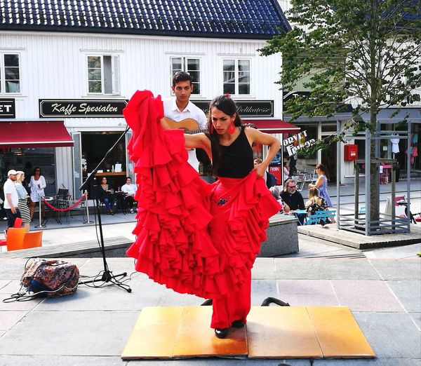 Two People Full Length Outdoors Dancing Flamenco Red Day People City Norway Summer Street Tønsberg, Norway Dancer Entertainment