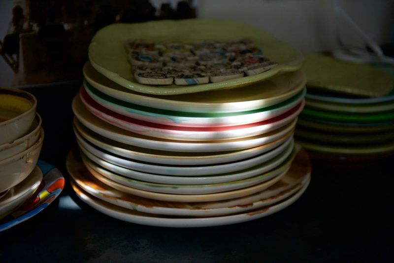 Close-up stack of plates