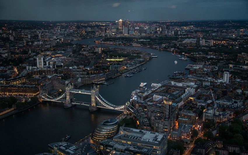 Blue Hour City Cityscape Modern River Thames Tower Bridge  Aerial View Bridge Bridge - Man Made Structure Capital Cities  City Lights High Angle View Illuminated Residential District River Skyscraper Tower Hamlets Travel Destinations View From The Shard Water The Architect - 2018 EyeEm Awards