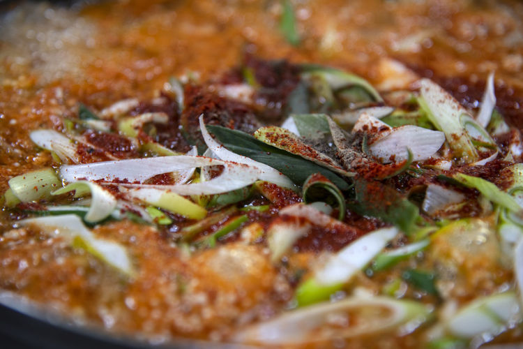Dochi Altang, one of fish stew in Korean style Food Food And Drink Indoors  Ready-to-eat Vegetable No People Close-up Freshness Still Life Stew Selective Focus Pizza Full Frame Indulgence Backgrounds Dairy Product Unhealthy Eating Italian Food Cheese Herb Temptation