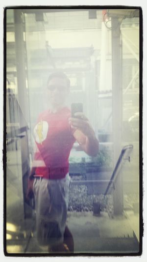 "Hot Day in Vienna and I hope the "" Red Flash shirt help me for a fast work day and I see my Daily Reflection"