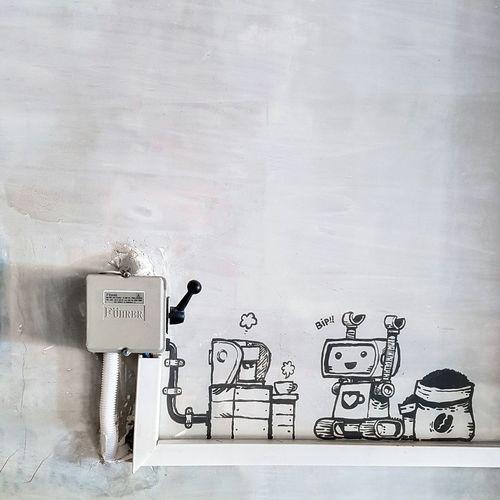Doodle Doodling Doodles Wall Wall Art Robot Coffee Coffee Shop