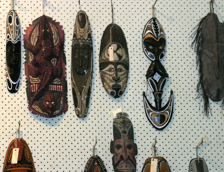 A taste of Papua New Guinea A Taste Of Papua New Guinea Close-up Day For Sale Hanging Indoors  No People Retail  Shoe Store Tribal Art Tribal Masks For Sale Variation