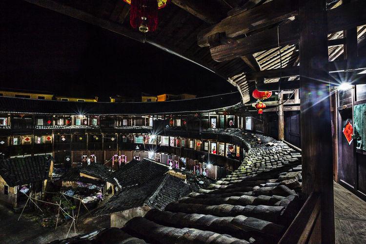 Ancient Buildings Distinctive Buildings Famous Soil Building Tourist Attractions Yongding, Fujian Hakka Soil Building Architecture Building Exterior Built Structure Illuminated Night