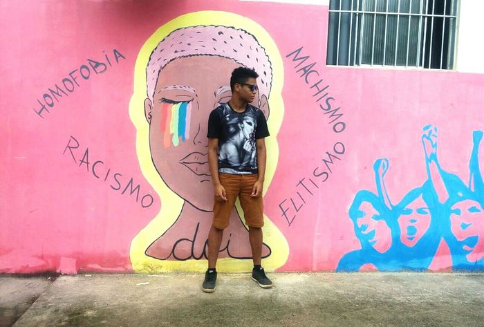 Front View Creativity One Person Graffiti Pink Color People Doodle