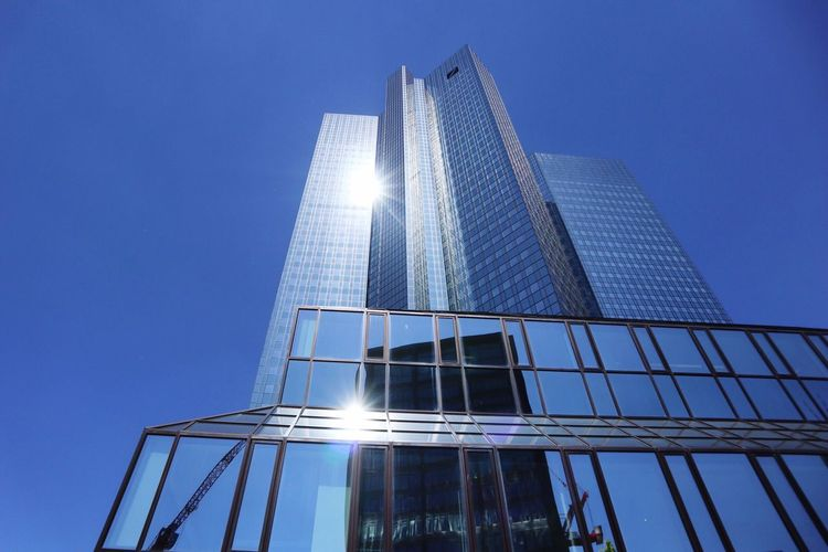 Architecture Low Angle View Skyscraper Built Structure Modern Tall - High Building Exterior Tower Clear Sky Sunlight Day Blue No People City Sky Tall Outdoors Skyscraper View Frankfurt Am Main Cityscape Modern Architecture Urban Germany Corporate Business