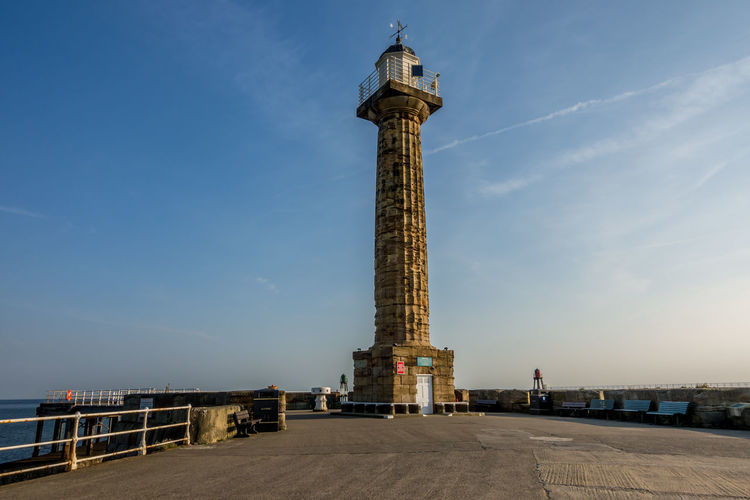 Whitby Whitby Harbour Whitby View Whitby North Yorkshire North Yorkshire North Yorkshire Coast Seaside Seaside Town Tourist Destination Coast Coastline Lighthouse Whitby Pier Monument Memorial Sky Architecture Built Structure Architectural Column No People Day Tower Low Angle View Outdoors