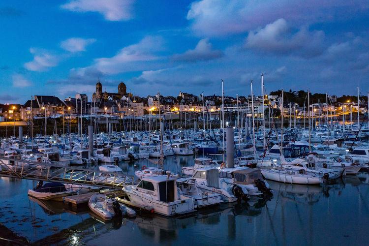 Harbor Marina Blue Sky Cloud - Sky Mast Moored Nature Nautical Vessel Night No People Outdoors Sky Water Yacht