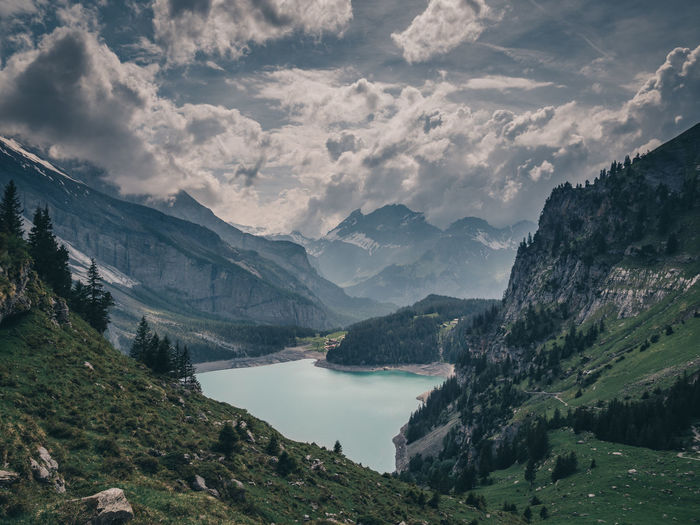 Mountain Beauty In Nature Scenics - Nature Sky Cloud - Sky Water Tranquil Scene Tranquility Mountain Range Nature Non-urban Scene Environment No People Lake Plant Day Landscape Tree Idyllic Outdoors Range Oeschinensee