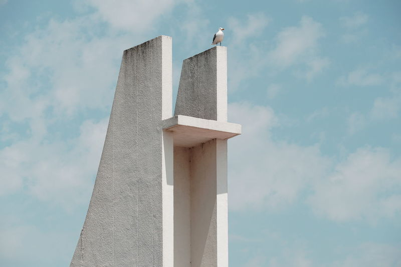 Low angle view of seagull perching on built structure against sky