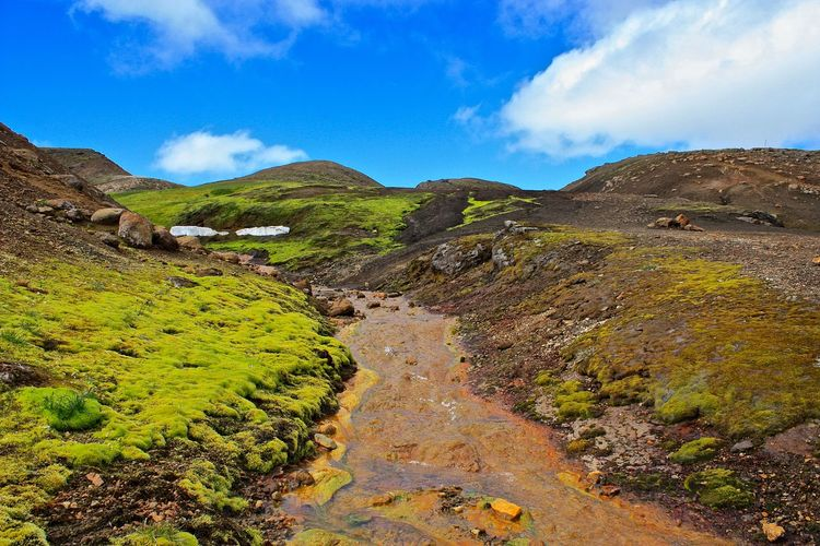 The Laugavegur (Icelandic [løːiɣavɛɣʏr̥] for way to the hot springs) is a famous trekking route in Iceland. It is situated on the municipalities of Rangárþing ytra and Rangárþing eystra and leads from Landmannalaugar to Þórsmörk. Its total length is 54 kilometers and at its highest point it reaches at Hrafntinnusker 1050m. You could extend the tour over the Fimmvörduháls to the coast at Skogar - one runs there over cooled lava of Eyjafjallajökull has erupted in May of 2010. 2016 EyeEm Awards Check This Out Eye4photography  EyeEm Awards 2016 EyeEm Best Shots EyeEm Gallery EyeEm Nature Lover Hello World Hi! Hiking Hiking Adventures Hiking Trail Hikingadventures Iceland Iceland Trip Iceland_collection Landmannalaugar Laugarvegur Laugavegur Mountain Mountain Range Mountains Outdoor Photography Outdoors The Great Outdoors - 2016 EyeEm Awards