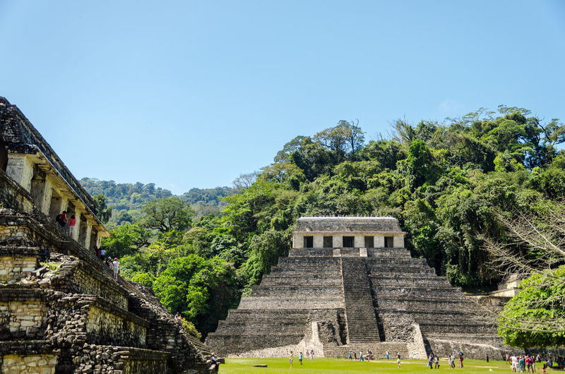 FACADE OF AN OLD MYSTERIOUS MAYAN TEMPLE