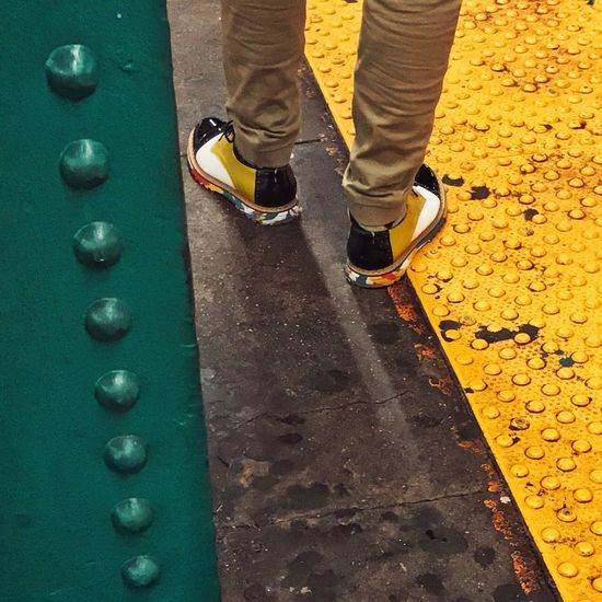 Paint The Town Yellow New York City City Subway Platform Colors Shoes Geometry