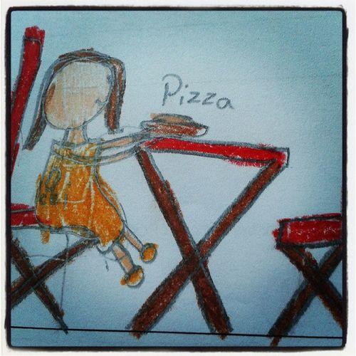 """""""Papai sou Eu comendo pizza :-)"""" Desenho Criatividade Cei Jujubex"""