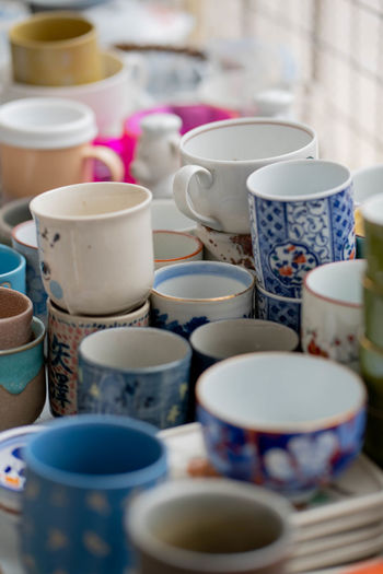 Close-up of cups for sale in store