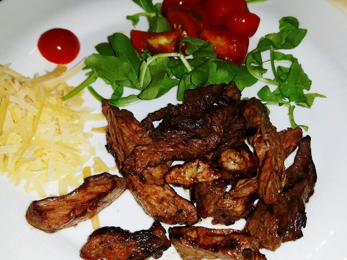 Food Freshness Food And Drink Indoors  Close-up Ready-to-eat Plate Meal No People Unhealthy Eating Temptation Food Styling Meat! Meat! Meat! Ribeye Steak Cheese Cherry Tomato Restaurant Grilled Meat
