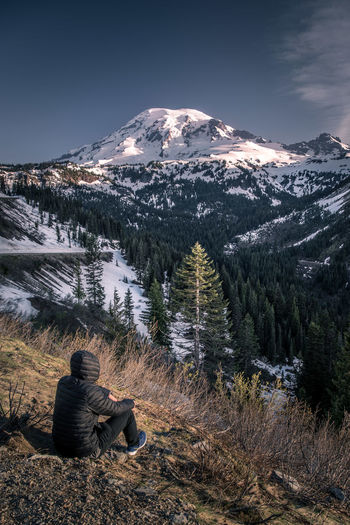 A place to get lost and find myself Beauty In Nature Cold Colors Exploring Forest Landscape Lights And Shadows Mount Rainier Mountain Nature One Person Outdoors Pacific Northwest  Snow Mountain Sunlight Sunrise Tranquility Travel Trees Valley Washington State Wilderness Lost In The Landscape