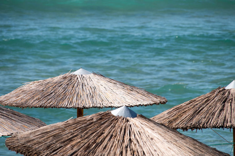 High angle view of parasol on beach