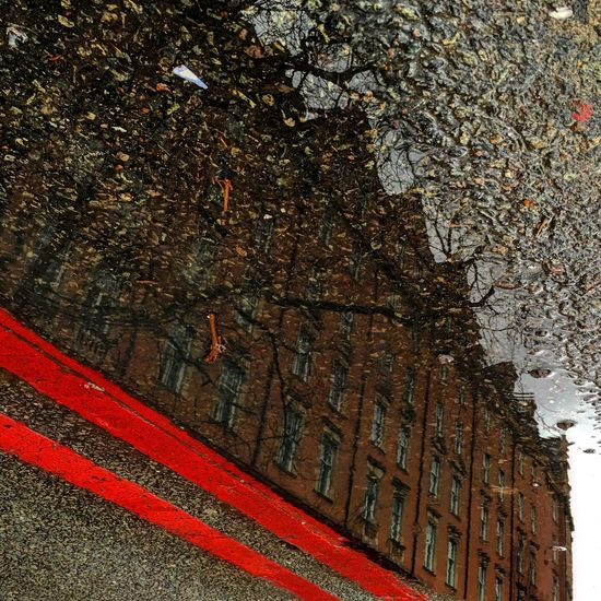 Puddle Puddleography Reflection London Redline Lines Streetphotography Road Building Bakerstreet IPhoneography Iphone6s Mirror Picture Colour Contrast Hanging Out Taking Photos Water Reflections Water Editorial  Redbuilding Mirror Image Colors Tarmac Streetphoto_color