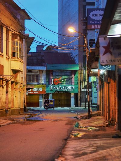 Medan early Morning City Illuminated Neon City Street Architecture Building Exterior Built Structure