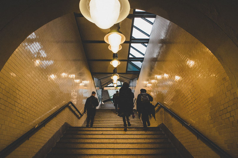 Full Length Men Illuminated Steps And Staircases Steps Staircase Walking City Togetherness Architecture