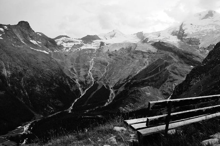Blackandwhite Lookout Bench Alps Glacier IPhoneography Mountain Sky Nature Day Mountain Range Beauty In Nature No People Cloud - Sky Snow Outdoors Scenics - Nature Snowcapped Mountain Mountain Peak