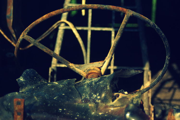 Close-up of rusty steering wheel
